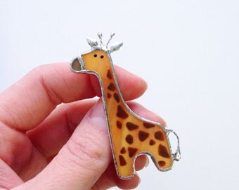Stained glass brooch orange giraffe, Tiffany technique jewelry, Gift For Her, Stained Glass jewelry, Orange Pin