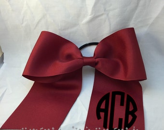 Monogrammed Cheer Bow--Cranberry
