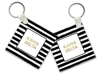 KD Kappa Delta Keychain Striped Gold Keychain Sorority Gift