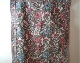 Floral tapestry wall hanging