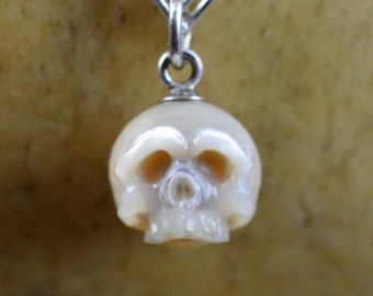 Carved Pearl Skull Necklace - Pearl Skull with Silver Bail - Skull Jewelry - Skull Necklace - Skull Pearl - Gift for Him - Gift for Her
