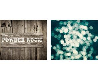 Powder room decor set of 2 photographs, bathroom art set of 2 prints, rustic decor, rustic powder room art, brown home decor, teal bath art