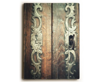 Wood sign, rustic wood plank art, door sign, brown wood panel art, french sign art, rustic ready to hang art, key home decor, ornate door