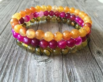 Gemstone bracelets, woman stretch stacking bracelet, woman gemstone jewelery, Bohemian bracelets, summer beaded bracelets, woman gift idea