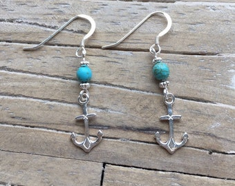 Turquoise & Sterling Silver Anchor Earring Set