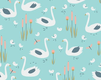 Spring Walk - Swan Family Organic Fabric - Turquoise - Sold by the 1/2 Yard