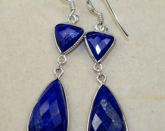 Lapis Lauzli  & 925 Sterling Silver Earrings