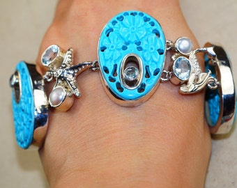 Carved Turquoise with Blue Topaz, River Pearl  set in 925 Sterling Silver Bracelet, Healing Stone