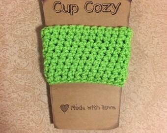 Cup Holder, Coffee Cozy,Crochet Cozy, Green Cup Cozy, Coffee Cup Cozy Sleeve