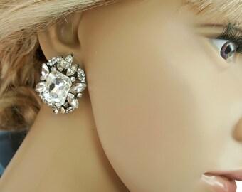 Large Crystal Bridal Stud Earrings, Vintage Inspired Statement Earrings, Crystal Wedding Stud Earrings, Art Deco Gatsby Wedding Jewelry,