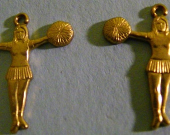 Cheerleader Brass Stamping Charms (2)
