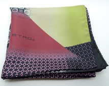 Etro Vintage Silk Scarf Purple Black Green Geometric Print Made In Italy 65cm Square Designer