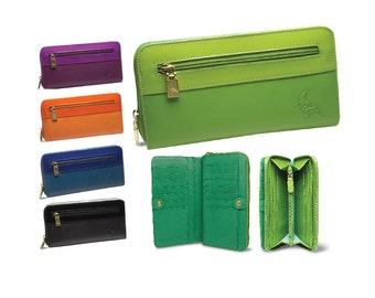 Womens Leather Zip Wallet Patent, Robin, Colorful, Orange, Purple, Lime, Blue, Black