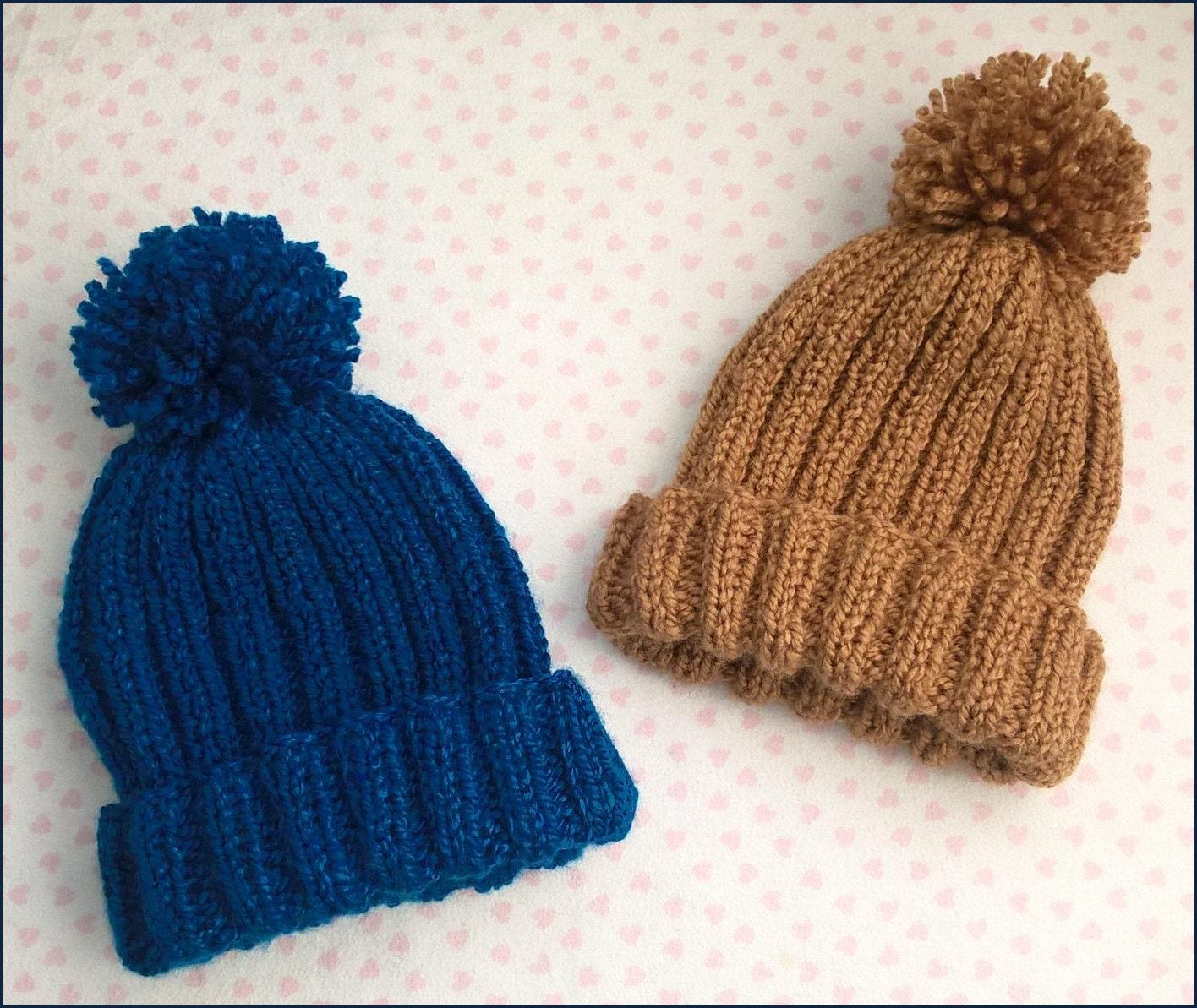 Knitted Ribbed Bobble Hat Pattern pom pom hat knitting
