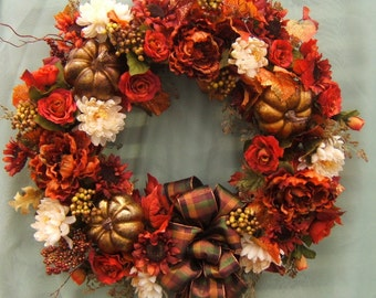 ENDLESS AUTUMN WREATH , Fall Wreath, Harvest Wreath, Silk Flower Wreath, Door Wreath, Thanksgiving Wreath, Silk Floral Wreath, Floral Wreath