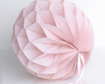 Dusky / dusty pink Tissue paper honeycombs -  hanging wedding party decorations