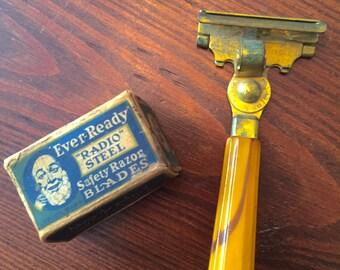 1945 Safety Razor, Midcentury Modern Brass Razor and Razor Blades, 14 Antique Ever Ready Razor Blades, Schick Injector Hand Razor