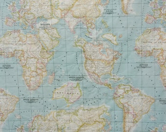 World map fabric, craft fabric, America, Africa, Europe, Asia, half a yard