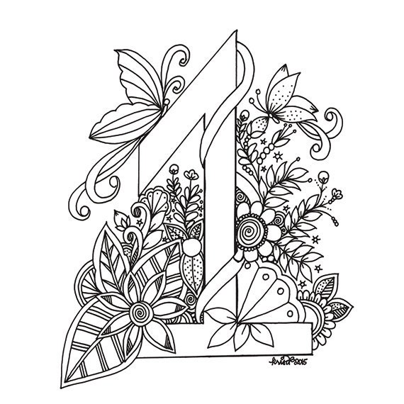 Instant Digital Download Adult Coloring Page No 1