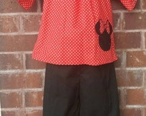 Girls boutique outfit, Custom Boutique Girls, Minnie Mouse outfit, Ruffle pant, Disney outfit