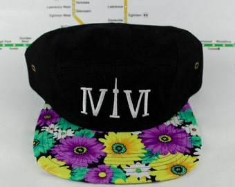 Floral Funkiness Forever! Toronto Beautiful 416 Five Panel hats. Original, Custom, Teal Funky Floral, CN Tower, The Six, 6ix, Roman Numerals