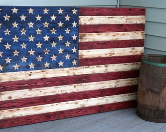 Rustic Wooden American Flag, Carved Wooden Flag, Rustic Flag Sign