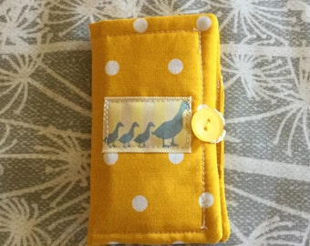 Sewing Needlecase, Sunny Yellow Polka Dot fabric with added embelishments, sewing set