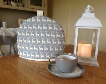 Christmas Scandi fabric tea cosy silver grey and winter white