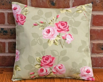 """Sage Green with Pink Roses Shabby Chic Floral Decorative Pillow Cushion Cover 16"""" / 40cm"""