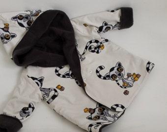 Reversible childs lemur and blue dark grey lined coat