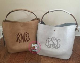 Bucket style monogrammed purse