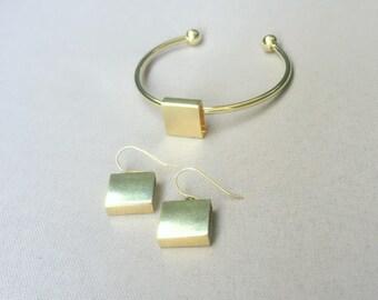Geometric Open Cuff Bracelet , Gold plated open bangle  , Gift Idea.