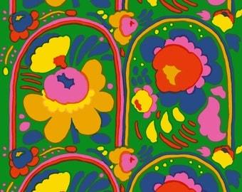Marimekko fabric | Marimekko fabric by the yard | Marimekko karuselli | vintage marimekko fabric | green pink yellow blue fabric