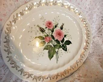 Johnson Bros 1930s Medium Oval Platter Large Pink Roses Gold Leaf Trim Swirl Design