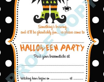 HALLOWEEN POLKA DOT invitations kids party invites