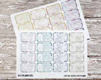 Watercolor Swirl Half Box Stickers