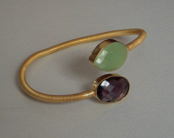 Gold Plated Cuff Bracelet / Amethyst and Green Glass Stone Cuff Bracelet / Hand Made 22k Gold Plated Cuff Bracelet / Adjustable Bracelet.