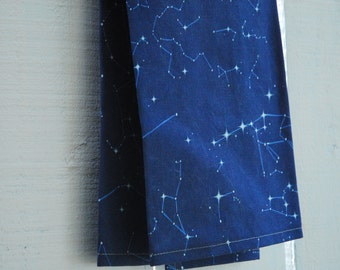 MOTHER'S DAY GIFTS, Linen Tea Towel - Navy Constellation Map