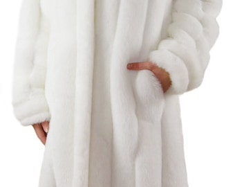 "Classic Mink White Long 49"" Faux Fur Coat By Silk and Sable"