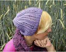 Lilac knit berets Crochet hat Violet crochet hats Knitted hats Knitted beanies Violet knit Hand knit berets Girlfriends gifts for teens