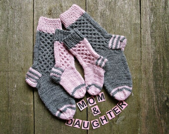 Mom daughter socks Mommy and me socks Grey pink knit socks Matching socks Toddler Girls socks Mother daughter wife gift Family look