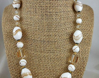 Vintage Venetian Glass Beaded White and Gold Beaded Necklace