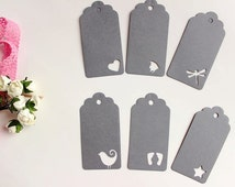 Gray or White Paper Tags with Heart, Star, Bird, Fish, Dragonfly, Butterfly Tag, Baby Feet Tags,  Wedding Tags, White  Tags, Wish Tags
