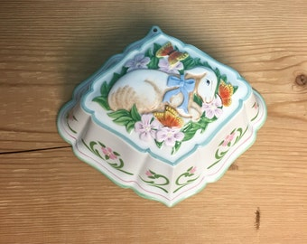 Le Cordon Bleu Franklin Mint Lamb Ceramic Decorated Mold with Butterflies and Flowers, Kitchen Hanging Mold, Kitchen Decor