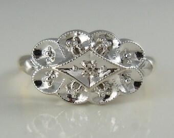 Vintage 10k gold diamond princess ring, size 6.5