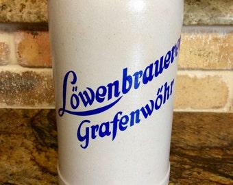 Vintage  Stoneware Lowenbrauerei Grafenwohr 1 Liter Beer Stein, Beer Mug, Beer Tankard, Barware, German Stoneware