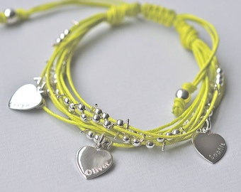Personalised Silver Hearts Bracelet