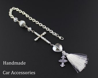 Christian Car Accessories For Women - Rear View Mirror Cross - Wire Wrapped Clear w. White Crystal Cross and Tassel Rear View Mirror Charm