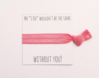 SALE//Bridesmiad hair tie favor//hair tie card,bridesmaid gift,party favor,bachelorette party, bridesmaid hair ties, wedding
