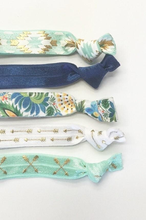 Tropical Blue & Mint hair tie set//hair ties, hair tie set, elastic hair ties, bridesmaid gift, ponytail holder, hair tie bracelet, blue